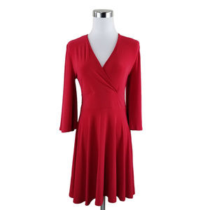 Nasty Gal 6 Red Bell Sleeve Faux Wrap Dress NWT